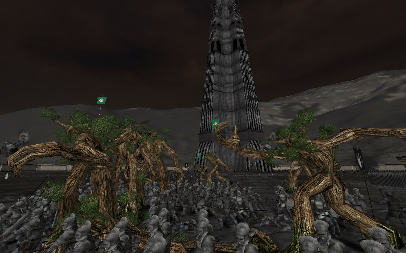 Ents attacking Isengard